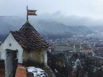 Citadeltoren boven Brasov-stad Royalty-vrije Stock Afbeeldingen