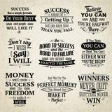 Citações do sucesso ajustadas Imagens de Stock