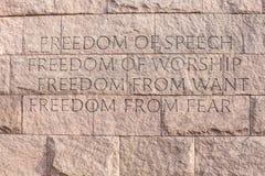 Citações no Washington DC do memorial de Roosevelt Imagem de Stock Royalty Free