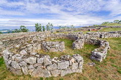 Citania de Sanfins En Castro Village (stärkt Keltisk-Iberian pre-historisk bosättning) i Pacos de Ferreira Royaltyfri Fotografi