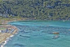Citara海滩看法在坐骨海岛 库存照片