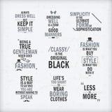 Citas de la actitud de la moda fijadas Imágenes de archivo libres de regalías