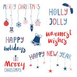 Citas de la Navidad y del Año Nuevo fijadas Foto de archivo libre de regalías
