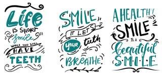 Citas de la sonrisa para su diseño Ejemplo de las letras de la mano ilustración del vector