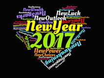 2017 citas de motivación de la Feliz Año Nuevo y cartel gráfico de las ilustraciones del corazón inspirado de los refranes en col Imagen de archivo