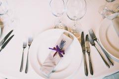 Citas de tabla de la boda Fotos de archivo