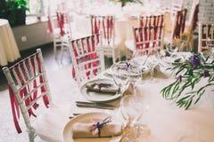Citas de tabla de la boda Foto de archivo libre de regalías