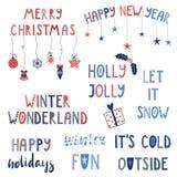 Citas del invierno y de la Navidad fijadas Fotografía de archivo libre de regalías