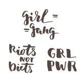 Citas feministas de las letras fijadas Fotos de archivo libres de regalías