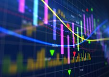 Citas financieras interactivas y análisis técnico Imágenes de archivo libres de regalías