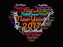 Citas inspiradas de la Feliz Año Nuevo 2017 y refranes de motivación en el cartel gráfico de las ilustraciones del corazón multic imagen de archivo libre de regalías