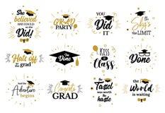 Citas inspiradas del partido del graduado a los graduados del congrat libre illustration