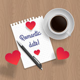 Citation : Date romantique Illustration de vecteur Photographie stock libre de droits