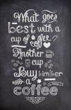 Citation de café écrite avec la craie sur un conseil noir illustration de vecteur