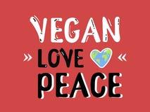 Citation de calligraphie de paix d'amour de Vegan, marquant avec des lettres le texte pour concevoir Illustration créative de pol Photographie stock libre de droits