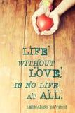 Citation de da Vinci d'amour de la vie Image libre de droits