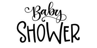 Citation de logo de bébé garçon Lettrage grotesque tiré par la main de fête de naissance, expression moderne de calligraphie de b illustration stock