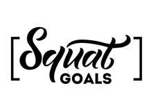 Citation de motivation de buts accroupis d'isolement sur le fond blanc Gymnastique illustration libre de droits