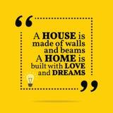Citation de motivation inspirée Une maison est faite en murs et b illustration de vecteur