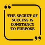 Citation de motivation Le secret du succès est constance à purpose Images libres de droits