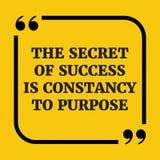 Citation de motivation Le secret du succès est constance à purpose Photo libre de droits