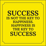 Citation de motivation Le succès n'est pas la clé au bonheur Photo libre de droits