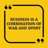 Citation de motivation Les affaires sont une combinaison de guerre et de sport Images libres de droits