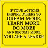 Citation de motivation Si vos actions inspirent d'autres rêver davantage Image libre de droits