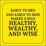 Citation de motivation Tôt au lit et se lever tôt Photographie stock libre de droits