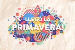 Citation des textes de saison de printemps dans la langue espagnole illustration stock
