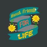 Citation et dire d'amitié bonnes pour la conception d'impression illustration de vecteur