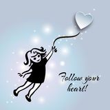 Citation inspirée au sujet de la vie et de l'amour Suivez votre coeur ! Remettez d Photo stock