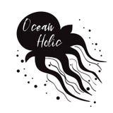 Citation inspirée d'océan d'affiche de mer, méduse Dirigez le signe typographique d'été de bannière de voyage, l'exprimez, le mar Image libre de droits