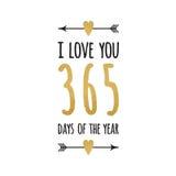 Citation inspirée tirée par la main d'or et d'étincelle je t'aime 365 jours de l'année Typographie, style de lettrage de calligra Images libres de droits