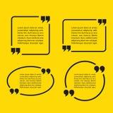 Citation Mark Speech Bubbles Ensemble d'icônes de signe de citation illustration stock
