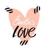 Citation pomantic d'amour sans fin avec le grand coeur Calibre de salutation pour le jour du ` s de Valentine Handlettering uniqu Image libre de droits