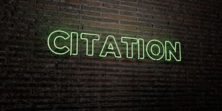 CITATION -Realistic Neon Sign on Brick Wall background - 3D rendered royalty free stock image Stock Images