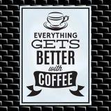 Citation sur un thème de café sur le conseil blanc et le mur de briques noir illustration de vecteur