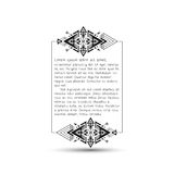 Citation text box, tribal style frame with place Royalty Free Stock Images