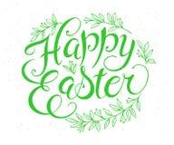 Citation tirée par la main de salutation de lettrage de Pâques de vecteur avec les branches florales Image stock