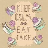 Citation tirée par la main - gardez le calme et mangez le gâteau illustration de vecteur