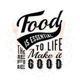 Citation typographique relative de nourriture Photo stock