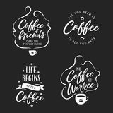 Citations connexes par café tiré par la main réglées Illustration de vintage de vecteur Photographie stock