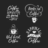 Citations connexes par café tiré par la main réglées Illustration de vintage de vecteur Image libre de droits