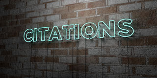 CITATIONS - Glowing Neon Sign on stonework wall - 3D rendered royalty free stock illustration. Can be used for online banner ads and direct mailers Royalty Free Stock Images
