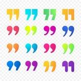 Citations ou icônes d'isolement par appartement de gradient de couleur de vecteur de signe de virgule de citation réglées illustration libre de droits