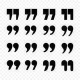 Citations ou icônes d'isolement par appartement de noir de vecteur de signe de virgule de citation réglées illustration stock