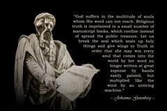 Citationstecken av Johannes Gutenberg arkivfoton
