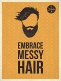 Citationstecken för blick för Hipstertappning omfamnar moderiktiga, smutsigt hår Fotografering för Bildbyråer