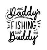 Citationstecken för bokstäver för kompis för fiske för pappa` som s isoleras på den vita backgrouen royaltyfri illustrationer